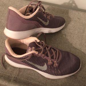Purple bike shoes